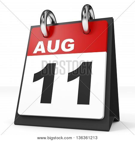Calendar On White Background. 11 August.