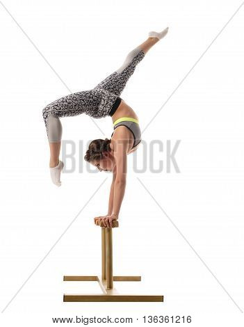 Image of female acrobat exercising on circus stands