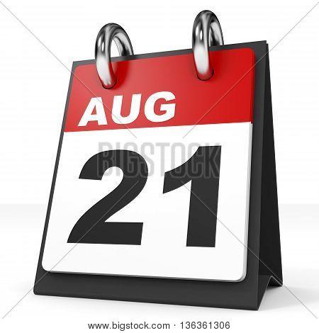 Calendar On White Background. 21 August.