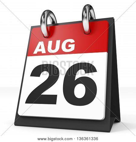 Calendar On White Background. 26 August.
