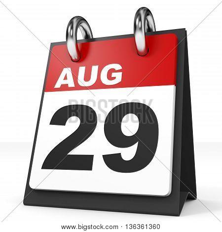 Calendar On White Background. 29 August.