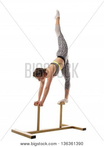 Acrobatics. Shot of gymnast training on circus stands