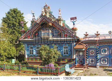KUNARA, SVERDLOVSK REGION, RUSSIA - JUNE 15, 2016: Photo of Unusual, beautiful house in the Russian village.