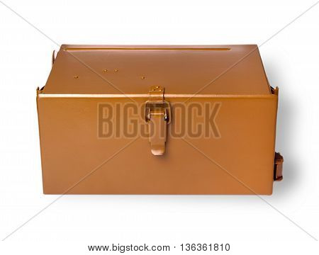Brownmetal military box cut out on white background