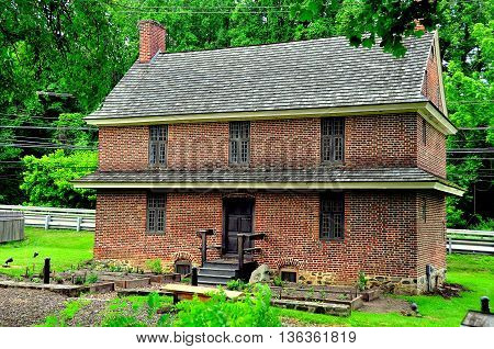 Chadds Ford Pennsylvania - June 3 2015: Historic 1714 Barns-Brinton House on Route 1 operated as a colonial tavern *