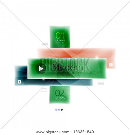 Glossy stripes business infographics. Shiny modern geometric info box banner. Glass style vector illustration template. Abstract background
