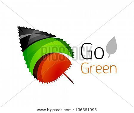 Abstract geometric leaf icon. Vector illustration