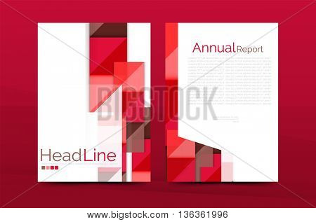 Geometric a4 front page, business annual report print template, Correspondence letter with corporate identity design