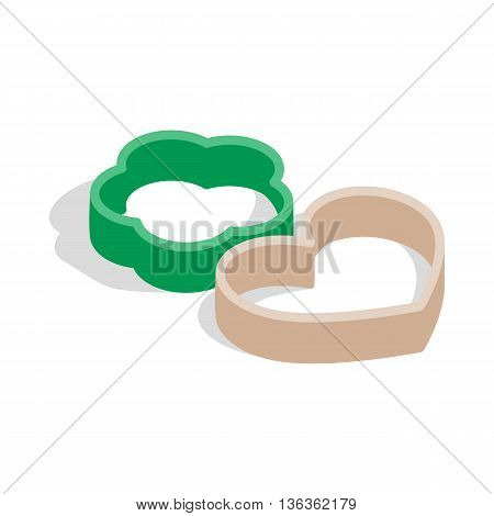 Cookie cutters icon in isometric 3d style isolated on white background. Baking tools symbol