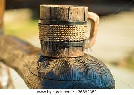 Close Up Of Wooden Mug