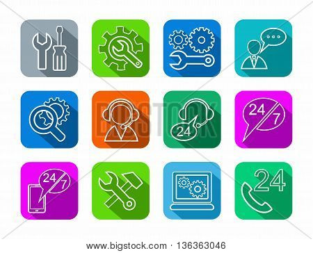 Vector linear icons of tools for repair and maintenance of electronics and equipment. White image on a colored background with a shadow.