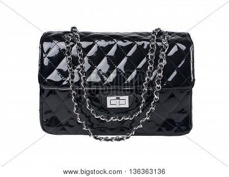 Close up black female bag on white background