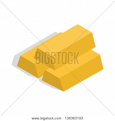 Gold bars icon in isometric 3d style isolated on white background. Money and gold symbol