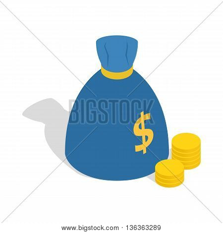 Bag of money icon in isometric 3d style isolated on white background. Finance symbol