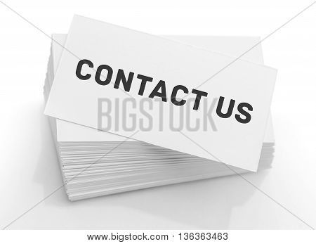 Stack of business cards with the text: contact us