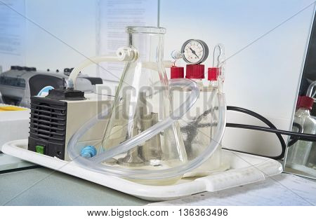 Laboratory compressor. Chemical laboratory background. Laboratory concept.