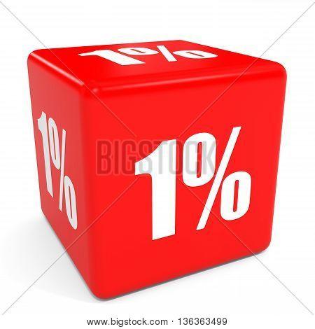 3D Red Sale Cube. 1 Percent.