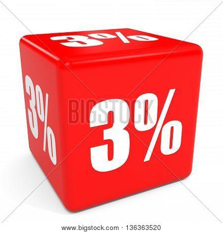 3D Red Sale Cube. 3 Percent Discount.
