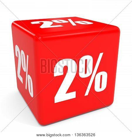 3D Red Sale Cube. 2 Percent Discount.