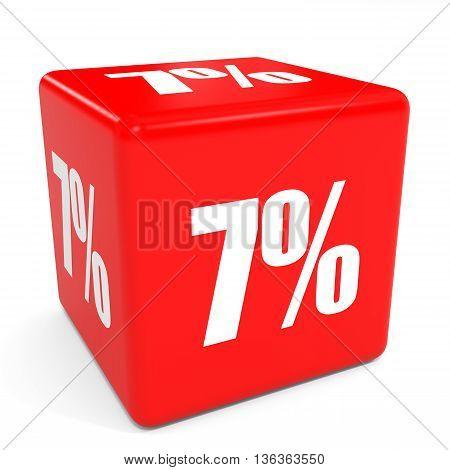 3D Red Sale Cube. 7 Percent Discount.