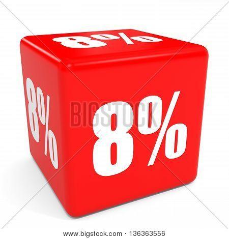 3D Red Sale Cube. 8 Percent Discount.