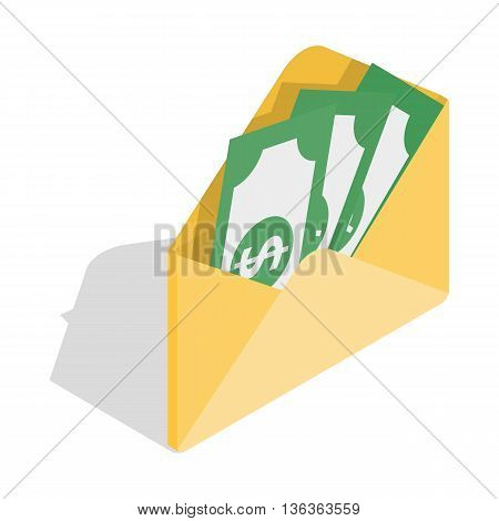 Envelope with money icon in isometric 3d style isolated on white background. Finance symbol