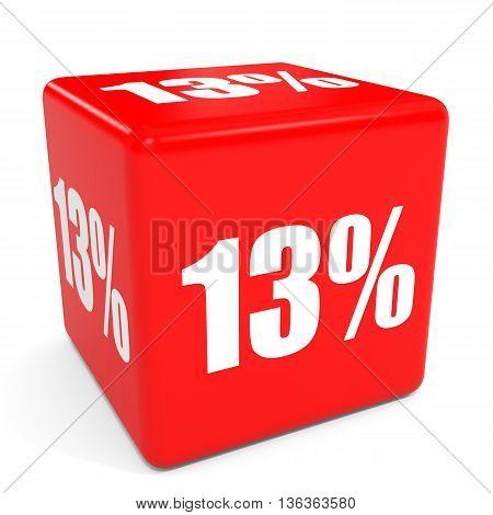 3D Red Sale Cube. 13 Percent Discount.