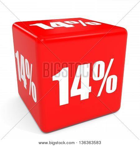 3D Red Sale Cube. 14 Percent Discount.