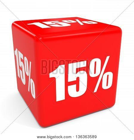 3D Red Sale Cube. 15 Percent Discount.