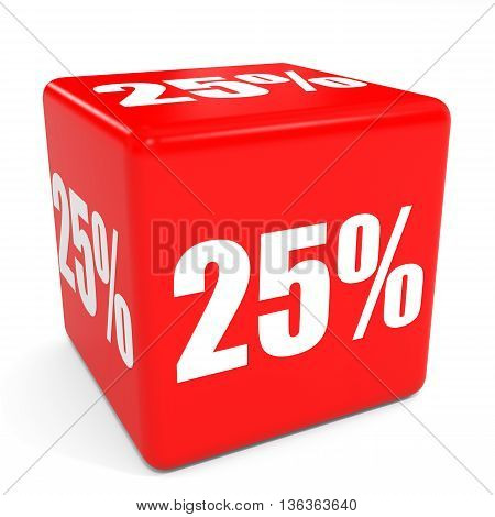 3D Red Sale Cube. 25 Percent Discount.