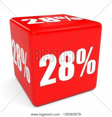 3D Red Sale Cube. 28 Percent Discount.