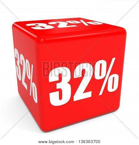 3D Red Sale Cube. 32 Percent Discount.