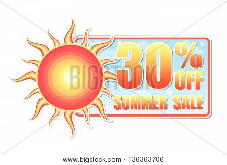 30 percentages off summer sale banner - text in blue label with red yellow sun and white daisy flowers, business concept, vector