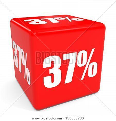 3D Red Sale Cube. 37 Percent Discount.