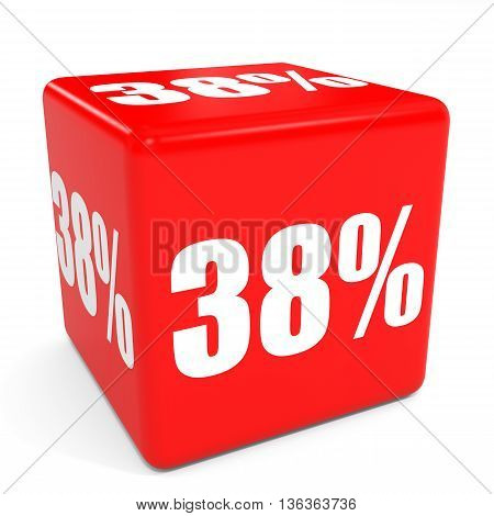 3D Red Sale Cube. 38 Percent Discount.