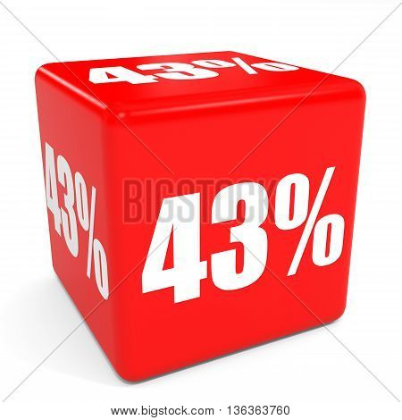 3D Red Sale Cube. 43 Percent Discount.