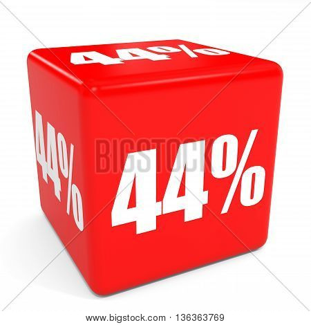 3D Red Sale Cube. 44 Percent Discount.