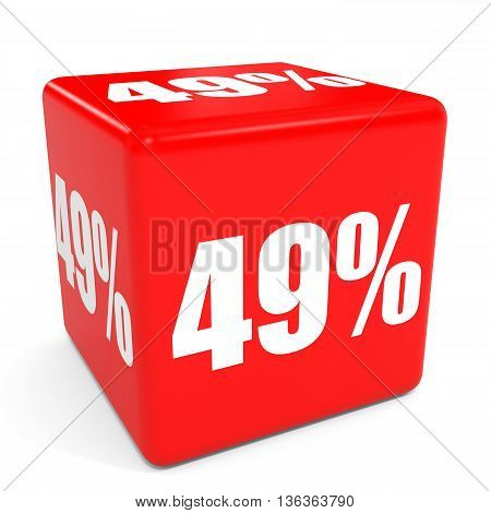 3D Red Sale Cube. 49 Percent Discount.
