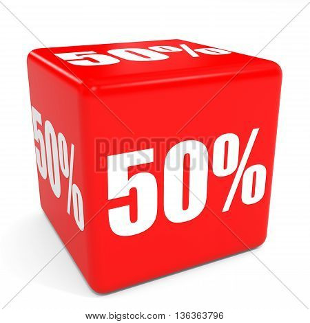 3D Red Sale Cube. 50 Percent Discount.