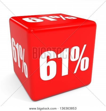 3D Red Sale Cube. 61 Percent Discount.