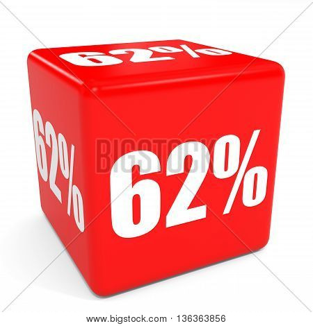 3D Red Sale Cube. 62 Percent Discount.
