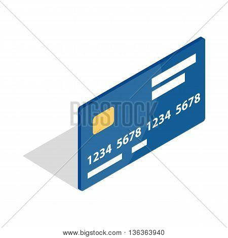 Bank card icon in isometric 3d style isolated on white background. Money symbol