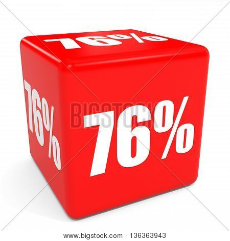 3D Red Sale Cube. 76 Percent Discount.
