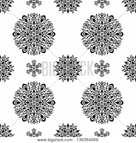 Seamless pattern with floral ornamental round design elements