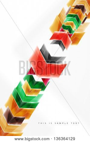 Glossy arrow wallpaper. Color geometric shapes - glass realistic style. web brochure, internet flyer with copyspace
