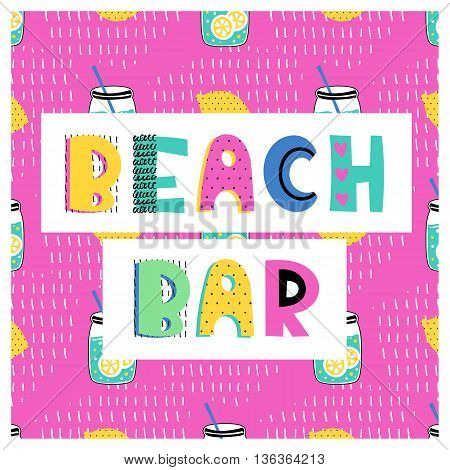 Summer vector card. Colorful  items. Hand drawn lettering. Tropical background in grunge style.