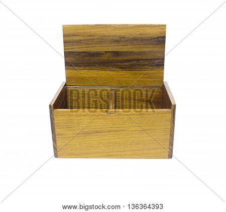 Open wooden box on a white background.