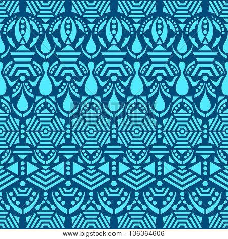 Blue vector ethnic tribal seamless pattern with ornaments