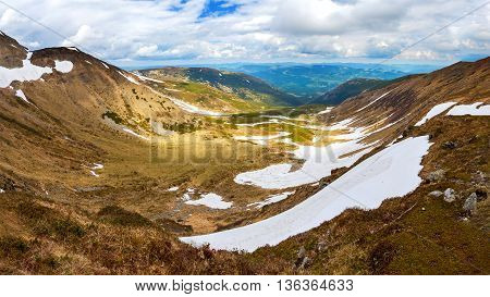 Snow in the Carpathian mountains in the early summer