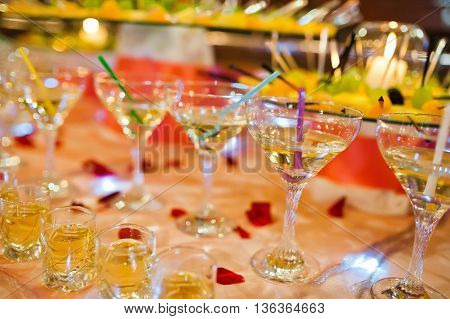 Wedding Reception Of Fruits Cake And Drinks